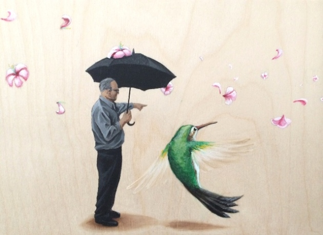 Emmanuel Crespo, The Rainmaker, No. 1, 2014. Acrylic on panel. 8 x 24 inches. Courtesy of the artist.