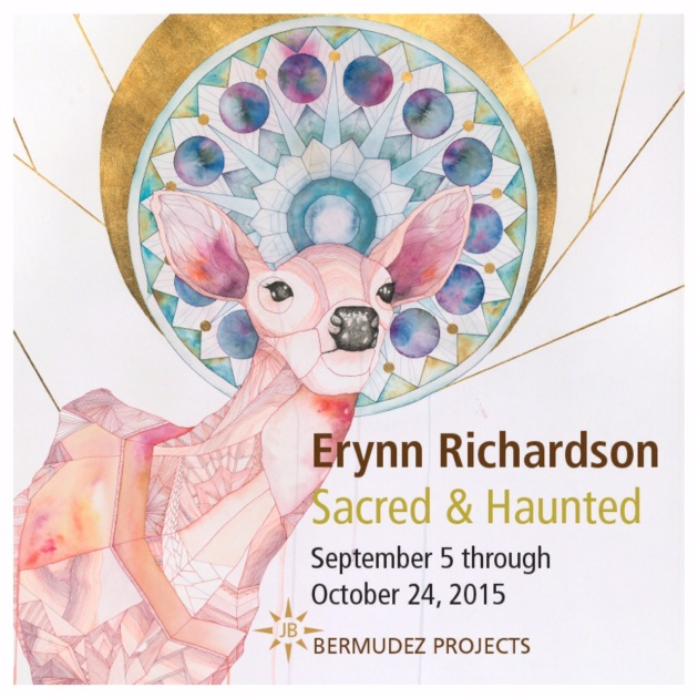 Erynn Richardson, Sanctuary 1, 2015. Ink, watercolor, and gold leaf on paper. 42 x 34 inches. Copyright Erynn Richardson. All rights reserved.