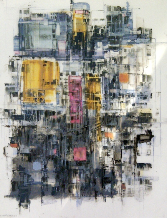 Johnny Taylor, Warlords, 2014. Oil and wax on architectural drawing film. 36 x 24 inches. © Johnny Taylor. All rights reserved.